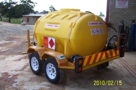 1000L Polly Diesel tanker, Hand pump, Flow meter, Water separator, Raised lights with strobe light, Double axel trailer, Brake system, 14'' Wheels
