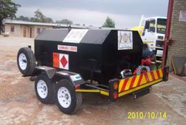 2500L Steel Afgas Trailer, 12v Fillrite pump, Flow meter, Water separator and filter, Statric line, Double axel trailer, Brake system, 14'' Wheels