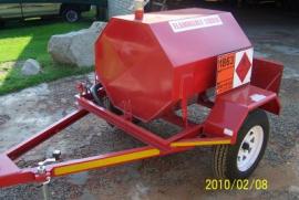 600L Steel Diesel Tanker, 12v Electrical or hand pump, Flow meter, water separator, Unbrake axel, 14'' Wheels