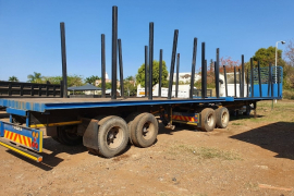 Afrit, Flat deck with removable poles, Interlink Trailer, Used, 1997